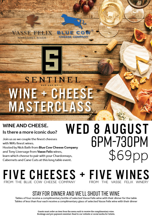 Tables of four receive a complimentary bottle of selected Vasse Felix wine with their dinner for the table Tables of less than four each receive a complimentary glass of selected Vasse Felix wine with their dinner